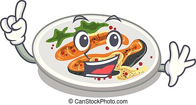 Finger grilled salmon on a cartoon plate