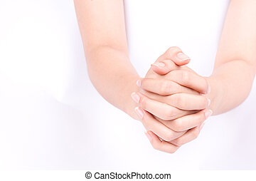 finger hand symbols isolated concept join two cupped hands and May god bless you on white background