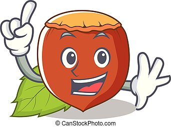 Finger hazelnut mascot cartoon style