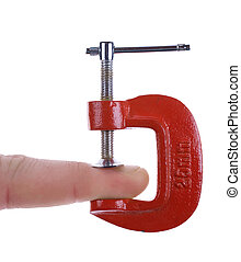 finger is under pressure in this clamp