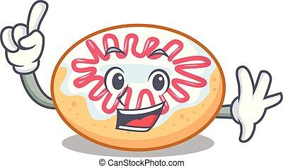 Finger jelly donut mascot cartoon vector illustration