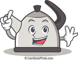 Finger kettle character cartoon style vector illustration
