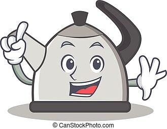 Finger kettle character cartoon style