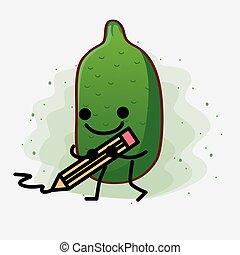 Finger Lime Fruit Mascot Character Illustration