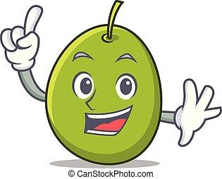 Finger olive mascot cartoon style