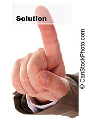 Finger on button solution isolated on white backgroun