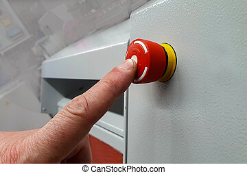 finger on the red button