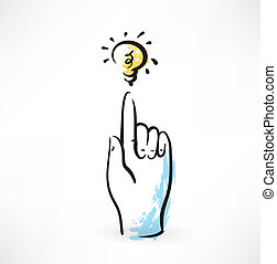 finger pointer and light bulb grunge icon
