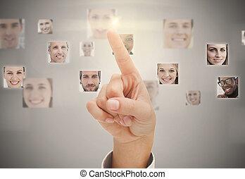 Finger pointing at digital interfac