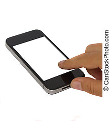 finger pointing at modern smartphone