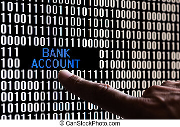 Finger pointing bank account data in binary code