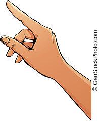 Finger pointing female hand.