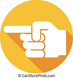 finger pointing symbol flat icon (hand with pointing finger,...