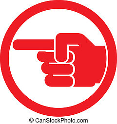 finger pointing symbol (hand with pointing finger, pointing...