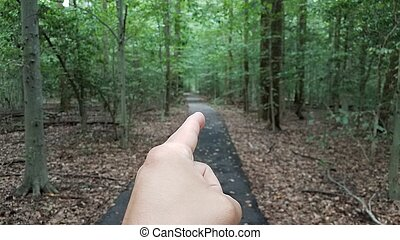 finger pointing with asphalt trail in forest or woods