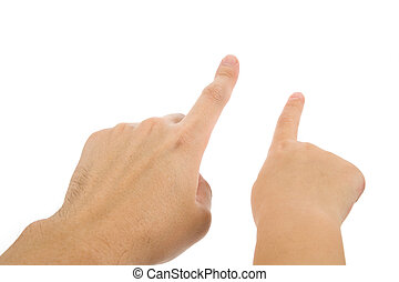 finger pointing with white background