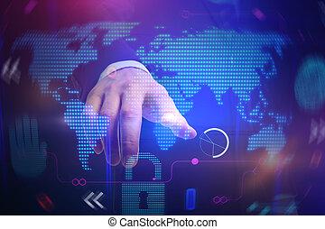 finger points on digital world map