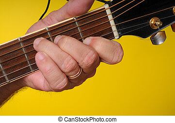 C major guitar chord - Finger position for a C major guitar...