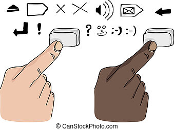 Finger Pressing a Key - Two different skin-color fingers...