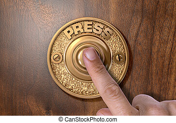 A male finger pressing a vintage brass doorbell on an isolated wooden background - 3D render