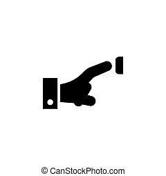 Finger Pressing Doorbell, Pushing Door Bell Flat Vector Icon...