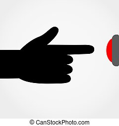 Finger pressing the red button. Vector.