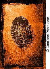 Finger Print - A fingerprint on a textured grunge background