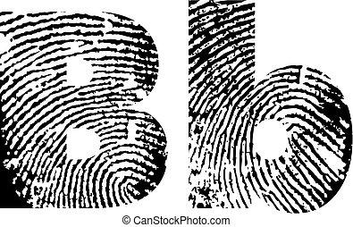 finger print alphabet - vector illustration