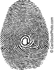 finger print as e-mail adress new technology isolated on the...