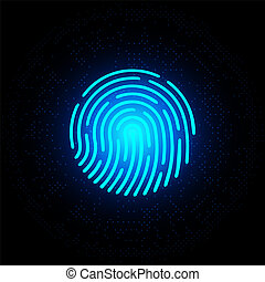 Finger print blue neon on dark background