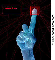 Finger Print Identification - A single finger being held in...