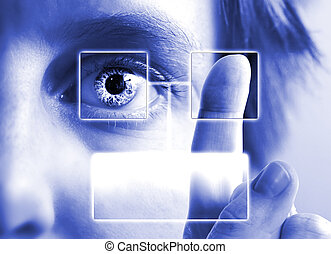 Finger Print Iris Scan - A finger print being compared to an...