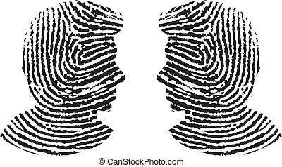 Finger print man silhouette