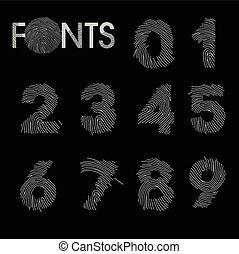 Finger print numbers best font vector
