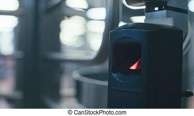 Finger print scan for security system. - Close up finger...