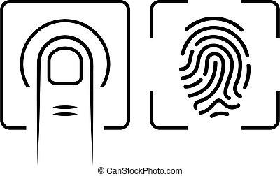 Finger print scan icon, biometric identification symbol on ...