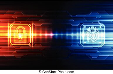 Finger print Scanning Identification System unlock. Biometric Authorization and Business Security Concept. Vector illustration background