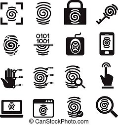 Finger print Security System icons set Vector illustration