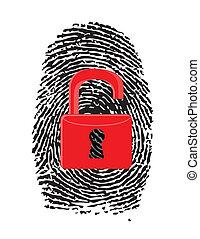 Finger Print with unlocked, red u-lock illustration design...