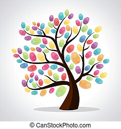 Diversity color tree finger prints illustration background. Vector file layered for easy manipulation and custom coloring.