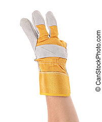 finger., projection, gloved, trois, main