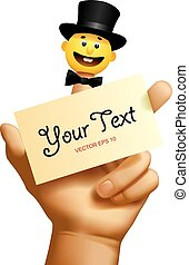 Vector image of the human hand with a yellow smiled puppet head in a black top hat and with a visiting card isolated on the white background