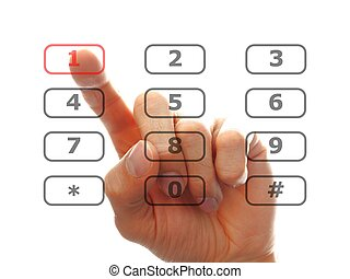 finger push a telephone number button - human finger dial a...