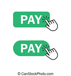 Finger push on pay button icon