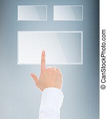 finger pushing keypad button