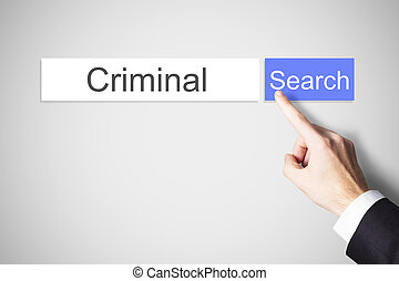 finger pushing web search button criminal
