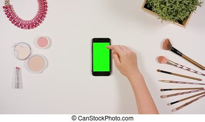 Finger Scrolling on Smartphone with Green Screen