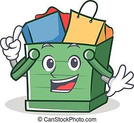 Finger shopping basket character cartoon