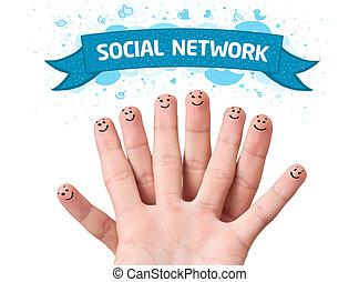 finger smileys with social network sign