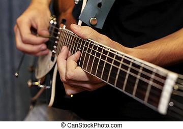 finger, spielende , auf, elektrische gitarre